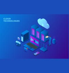 cloud data storage isometric vector image