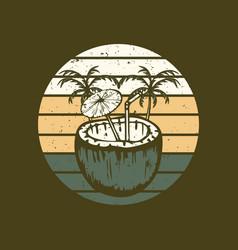 coconut juice vintage vector image