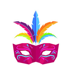 colombina carnival mask with feathers flat vector image