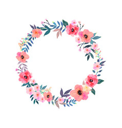 Colorful flowers wreath elegant floral vector