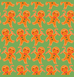 cute gingerbread seamless pattern background vector image