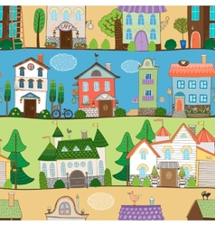 Cute houses castles and establishments design vector