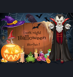dracula on halloween party candy pumpkin and bat vector image