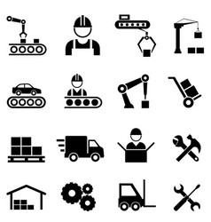factory industry and manufacturing industry icons vector image vector image