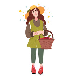 Farmer girl holding a basket with apples fabulous vector