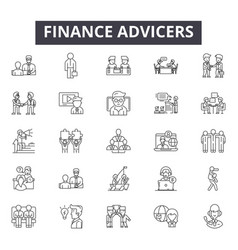 finance advicers line icons for web and mobile vector image