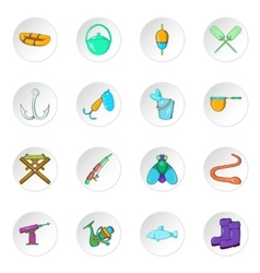 Fishing icons cartoon style vector image