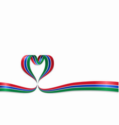 Gambian flag heart-shaped ribbon vector