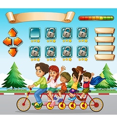 Game template with family riding bicycle vector image