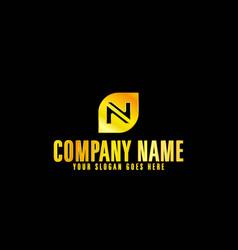 golden letter n emblem with black background vector image