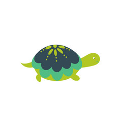 green cartoon turtle cute character isolated vector image