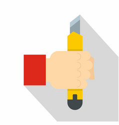 Hand hoding yellow construction utility knife icon vector