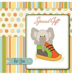 Happy birthday card with an elephant hidden in a vector