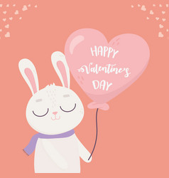 Happy valentines day cute bunny with balloon vector