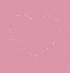 Heart stars in purple rose sky vector