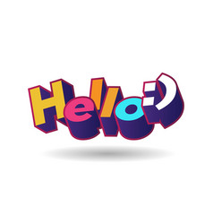 Hello 3d text plate background for banner sale vector