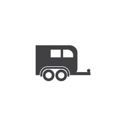 horse trailer logo truck transportation road cargo vector image