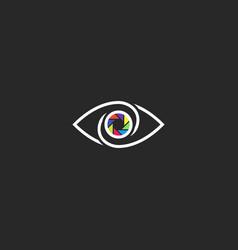 Human eye logo photographer or photo studio vector