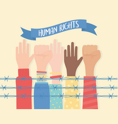 human rights raised and fist hands diversity vector image