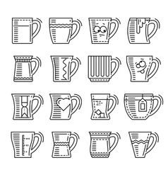 Icons set of different cups vector image