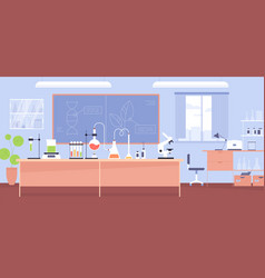 Interior chemical laboratory with furniture vector