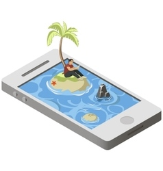 Isometric tropical desert island on smartphone vector