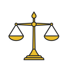 Justice scales color icon vector