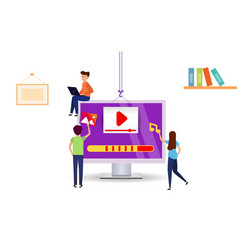 little people download videos to your computer vector image