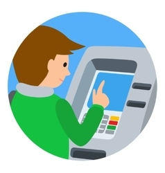 Man using ATM machine of vector