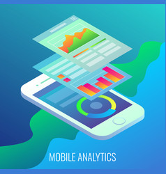 mobile analytics concept flat isometric vector image