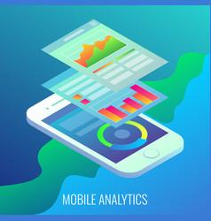 Mobile analytics concept flat isometric vector