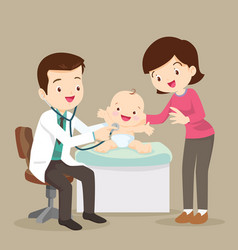 mom and pediatrician doctor examining little baby vector image
