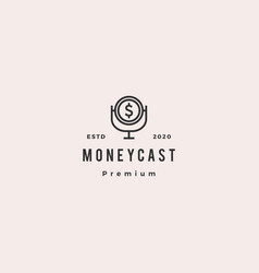 Money podcast logo hipster retro vintage icon for vector