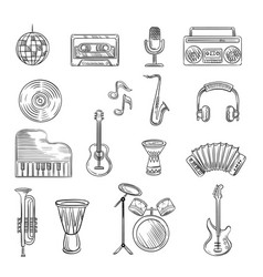 music items icons set hand drawn sketch vector image