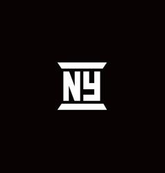 Ny logo monogram with pillar shape designs vector
