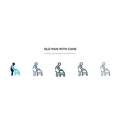 Old man with cane icon in different style two vector