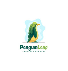 penguin leaf design template vector image
