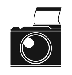 Photocamera icon in black style isolated on white vector image