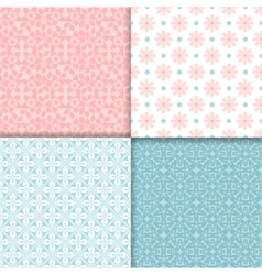 Pink and blue seamless patterns set vector