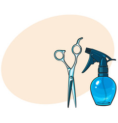 plastic hairdresser spray bottle and professional vector image
