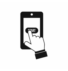Playing games on smartphone icon simple style vector image