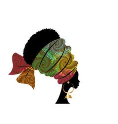 portrait beautiful african woman colorful turban vector image