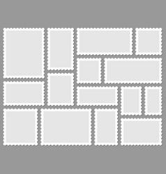 postcard stamp frames blank postage stamps empty vector image