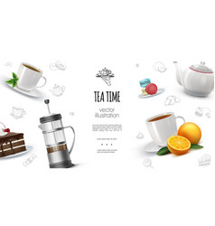 realistic tea time background vector image