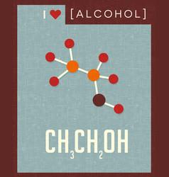Retro poster alcohol molecule vector