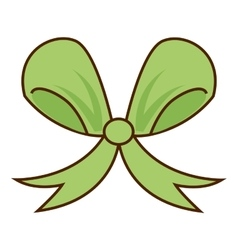 ribbon bow green icon vector image