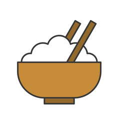 Rice in bowl food and gastronomy set filled vector