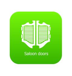 saloon door icon green vector image
