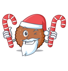 Santa with candy chocolate biscuit mascot cartoon vector