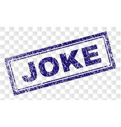 Scratched joke rectangle stamp vector